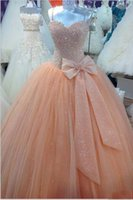 Wholesale Peach Corset Dresses - Peach Tulle Ball Gown Quinceanera Dresses Real Image Spaghetti Corset Cheap Sweet 16 Dress with Bow Custom Made Size Prom Pageant Gowns