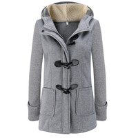Wholesale Trench Dark Blue - Winter Autumn Women Horn Button Outwear Slim Zipper Hooded Coat Female Wool Blends Trench Coat 2017 New Fashion