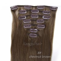"Wholesale Hair Chestnut - Malaysian Hair Bundles 8# Chestnut Brown 15""-26"" 7pcs Brazilian Peruvian Indian Malaysian Virgin Remy Human Hair Clip in Hair Extensions"