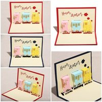 Wholesale Happiness Cards - 100pcs Little Happiness Train Design Handmade Creative Kirigami & Origami 3D Pop UP Birthday Cards for Baby Kids Shower
