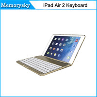 Wholesale bluetooth keyboard folio case - New arrivals Ultra Slim Shell Aluminium Folio Wireless Bluetooth Keyboard Carrying Stand Case Cover for Apple iPad Air 2 010243