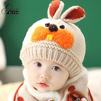 crochet hats for children 2018 - 2 piece  set Hat and Scarf Set Baby Winter Cap Rabbit Knit Warm Hats For Children Neck Warmer Props Baby Kids Hats