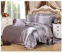 Wholesale Duvet Cover Super King Size - Silver bedding sets super king size queen full twin grey duvet cover fitted silk satin bed sheet double bedspreads doona 6pcs