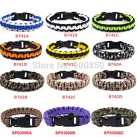 Atacado-New Trendy Unisex Militar Emergência Survival Pulseiras 3 cores Paracord Corda Outdoor Survival Bracelete Camping Shackle Buckle