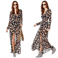 Wholesale Chiffion Maxi Dress - Ladies Deep V Neck Front High Split Floral Boho Long Sleeve Maxi Dress Chiffion