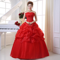 Wholesale Korean Ball Gowns - free shipping Wedding Dress 2015 New Strapless Korean Style Zipper Wedding Dress Princess Bridal Dresses Vestido De Noiva Princesa CCT01