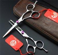 ciseaux à effiler professionnels achat en gros de-Ensemble ciseaux à cheveux Purple Dragon Professional de 5,5 po, ciseaux à amincir, 62HRC,