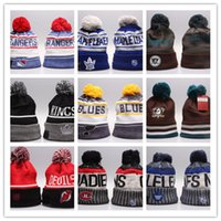 Wholesale Football Beanies For Men - Winter Beanie Hats for Men Knitted NHL Wool Hat Gorro Bonnet with San Jose Sharks Beanie Boston Bruins Pittsburgh Penguins Winter Warm Cap