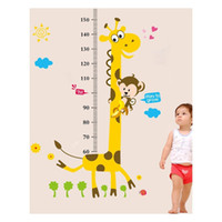 Wholesale Growth Chart Monkey - Cute Giraffe Monkey Height Ruler Wall Decal Stickers Removable PVC Growth Chart Wall Art Murals for Kids Room Nursery Living Room