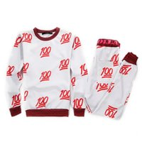 Wholesale Sweat Suit Cartoon - New Red 100 emoji printed cute cartoon sweat suit tracksuit for men women girl boy joggers&hoodies set outfit cloth red&white