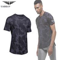 havalandırmalı gömlek toptan satış-Erkekler Eğlence hızlı kuruyan Koşu spor basketbol tren elastik kuvvet hareketi T-shirt havalandırmak emici
