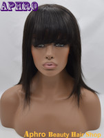 Wholesale Natural Hair Wigs Online - Instock Unprocessed Brazilian Virgin 100% Human Hair Lace Front Wigs 130% density Front Lace Wigs With Bangs For Sale Online