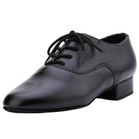 Wholesale Leather Costumes For Men - Wholesale-2015 Black Leather Costume Modern  Tango  Ballroom Latin Dance Shoes For Men Low Heel