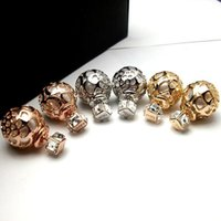 Wholesale Carved Earring Gold - 10Pairs (20pcs) X LOGO Celebrity Runway Gold Silver tone Crystal Zirconia Flower Hollow Out Carved Stud Earrings Ear Stud Pin
