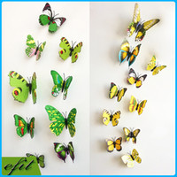Wholesale Light Decoration For Home Prices - A Lot 12PC DIY 3D Butterfly Wall Sticker PVC Wall paster stickers Home Decor Children Bedroom Decorations Art 9Color Factory Price