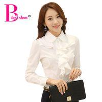 Wholesale Korean Office Blouses - New Arrivals 2016 Korean Style Office Work Wear Fashion Elegant Ruffles Long Sleeve Women White Blouse Black Body Shirt Ladies
