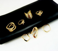 Wholesale Rhinestone Rings Side Stones - Jewelry Mid Finger Knuckle Ring Set 7pcs set Women's Rhinestone Bowknot Knuckle Midi Mid Finger Tip Stacking Rings With Side Stones Rings