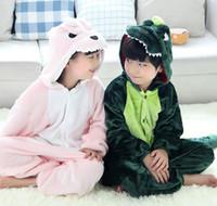 ingrosso pile di dinosauro-Hot Autunno Inverno Bambini Manica Lunga Flanella Pile Dinosauro Pigiama Cartoon Tuta Ragazze Ragazzi Costume Cosplay Kigurumi Bambini Loungewear