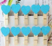 Wholesale Vinyl Paper Clips - 10 PCS Wholesale Clothespin Craft Clips Mini Heart Love Wooden Clothes Photo Paper Peg Pin 4Z618