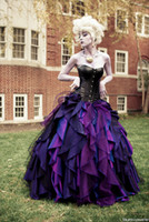 Wholesale Corset Ruffled Wedding Dresses - Purple and Black Organza Taffeta Ball Gown Gothic Wedding Dress Corset Victorian Halloween Bridal Gowns Vestidos de Novia