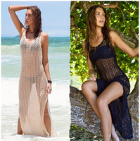 Wholesale Sexy Crochet Dresses For Women - 2016 Womens Sexy Mesh Hollow Crochet Beach Dress,Sleeveless Lace Bathing Suit Cover Dress Swimsuit For Women Swimwear Beach Cover Ups