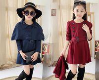 Wholesale Two Piece Coat Dress Girls - Wholesale 2016 new Fashion two-piece: cloak + dress for big girls free shipping