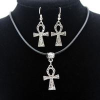 Wholesale tibetan set earrings necklaces - 12 sets lot Women's Lucky Jewelry Tibetan Silver Style Ankh Pendant Necklace Dangle Earrings Jewelry Sets Gift TZ22