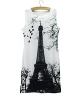 Wholesale Eiffel Tower Clothing - Top sale women mini dress Eiffel Tower 2016 new arrival girls summer clothing Western novelty design casual dresses wholesale mix order