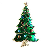 Wholesale Custom Brass Plates - 2017 new Christmas tree Brooch popular new personalized custom decorative gift European style diamond exquisite and small two piece set