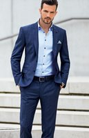 Wholesale Men Beach Wedding Suit - 2015 Dark Blue Beach Groom Tuexdos Custom Made Groomsmen Men Wedding Suits Two Buttons Prom Formal Occasion Tuxedos ( Jacket+Pants+Hanky)
