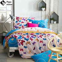 Wholesale Coverlet Red - Wholesale-Puprle red butterfly bedding set 4pcs for girls queen size 100%cotton duvet cover bedsheet pillowcase bed linen quilt coverlet