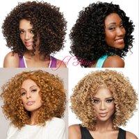 ingrosso parrucca ricci brasiliana afro kinky-parrucca sintetica KINKY CURLY Bounce CURL salutare Micro treccia parrucca afro-americana parrucche brasiliane per capelli parrucche sintetiche da 18 pollici per le donne nere