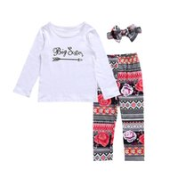 Wholesale Little Sister Shirt - Family Matching Outfits Newborn Baby Little Sister Romper Big Sister T-shirt+Long Pants Clothes Outfits