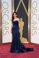 Wholesale Sandra Bullock Dresses - 2015 Custom Made Academy Awards Sandra Bullock Mermaid Celebrity Dress Sweetheart Satin Sweep Train Dark Navy Mermaid Evening Prom Dresses