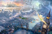 Wholesale Framing Oil Paintings - Tinkerbell and Peter Pan fly to Neverland Kinkade Oil Paintings Art Print On Canvas no frame. NO.174