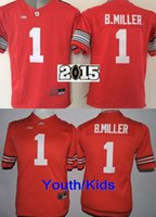 Factory Outlet- 2015-2016 New Style Youth Ohio State Buckeyes NCAA College Football Jersey Kids # 1 Braxton Miller Jersey