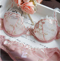 Wholesale White Bra 36b - NEW Women Embroidery Transparent Bra Plus Size Lace Bra Brief Sets Sexy Lingerie Bikini Intimates Set 32ABCD 42CD 9126#