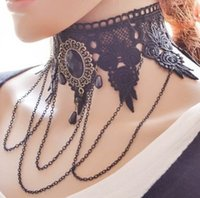 Wholesale Gothic Black Lace Necklace - Western women retro dance lace hollow out macrame drip burr Necklaces exaggerated clavicle chain Gothic style fashion and beautiful