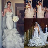 Wholesale white gown sleeveless red ribbon waist online - Romantic Lace Sweetheart Wedding Dresses Mermaid Tiered Ruffles Sweep Train Bridal Gowns Sexy Backless Ribbon Waist Wedding Dresses