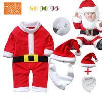 Wholesale Bibs Santa Claus - Wholesale-2015 baby clothing set boys girls Santa Claus modelling set 3pcs red fleece romper+hat+bib suit Christmas baby costume 293ABB