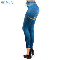 Wholesale-2017 Leggings Jeans für Frauen Denim Hosen mit Tasche Slim Leggings Frauen Fitness Plus Size Leggins S-XXL Schwarz / Grau / Blau