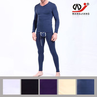 Wholesale Dress Slim Tight - 2016 Brand long johns Men's Thermal Underwear Suit For Men Long Jhons Home Dress Suits Tight Slim 4 color available Size M-XL man underwear