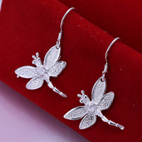 Wholesale 925 Silver Dragonfly Charm - Brand new sterling silver Inlaid stone dragonfly earrings DFMSE009,women's 925 silver Dangle Chandelier earrings 10 pairs a lot