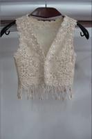 Wholesale Cheap Vest Wrap - Princess Cheap Sexy Lace Wedding Accessories Coats Shawl Formal Tippet Cape Jackets Long Vest Bridal Wraps 2017 Champagne For Party Evening