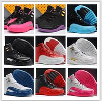 Wholesale Outdoor Games For Kids - Kid Air Retro 12 Red Flu Game Chinese New Year Taxi Gamma Blue Basketball Shoes Sneakers for Children Outdoor Sports Shoes Size 11C-3Y