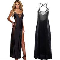 Plus Size S-6XL Lace Up Schwarz Backless Abendkleid Nachtwäsche Chemise Sexy Dessous Lange Badydoll Kleid Transparent Nachthemd