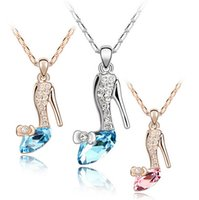 Wholesale Cinderella Glass Slipper Necklace - 2015 Fashion Trendy Cinderella Shoes Pendant Necklaces Movie Hip Hop Jewelry Glass Alloy Slipper Pendant Necklace Jewellery for Women