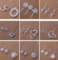 Discount fashion necklace sets for women - Mixed Fashion Jewelry Set 925 Silver necklace & earrings for women to send his girlfriend   wife gifts free shipping 9set lot 1466