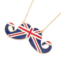 Wholesale Moustache Flag - Moustache necklace British national flag chain necklace Popular Jewelry factory price free shipping