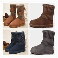 bottes en plein air kaki achat en gros de-Gros femmes WGG Australie Classic Boots fille triple bleu noir marron Kaki bottes Boot Snow hiver bottes en cuir chaussures de plein air taille 35-40